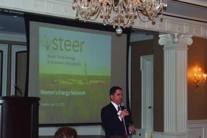 Omar Garcia, President of STEER speaks at the Women's Energy Network (WEN) luncheon on 04/21/15