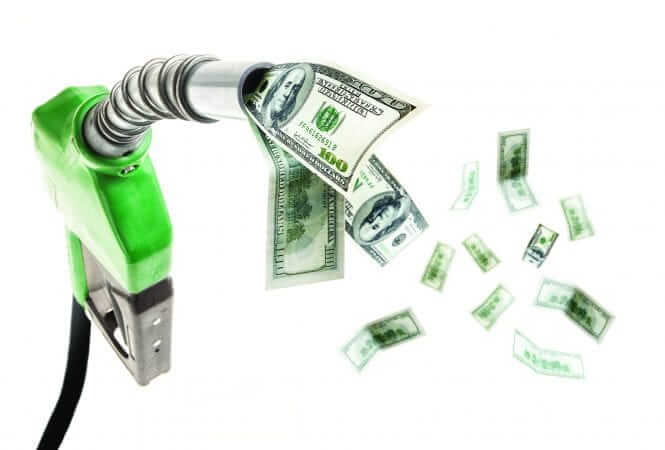 Green fuel nozzle with dollars flying around