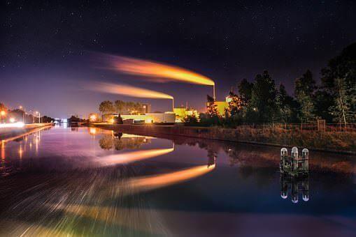 public domain refinery over river