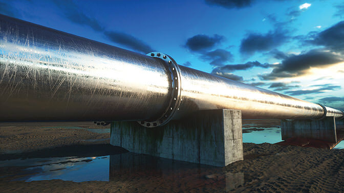 bigstock--175254676 - Pipeline transportation oil, natural gas or water in metal pipe. Oil concept. 3d rendering