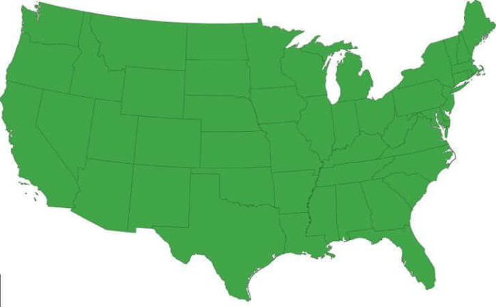 bigstock Green map of the United States 25527959